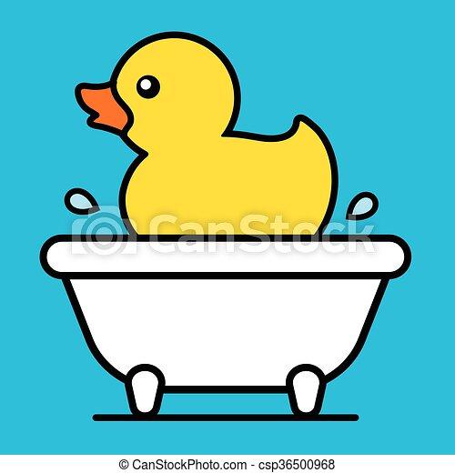 Cartoon Yellow Rubber Duck In A Bathtub Cartoon Cute Little Yellow