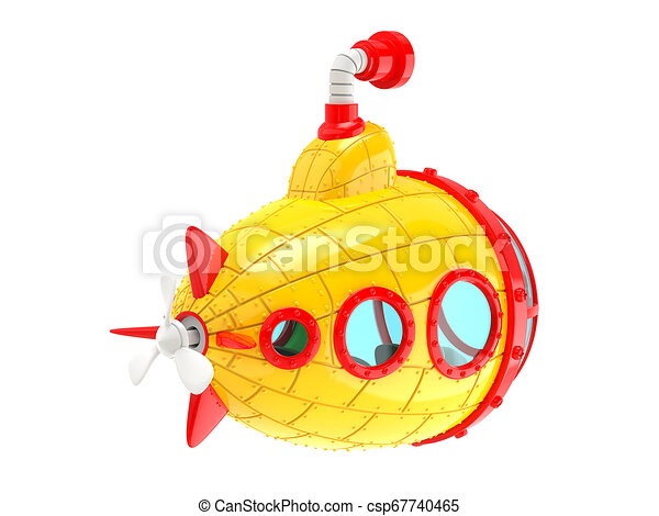 cartoon yellow submarine back - csp67740465
