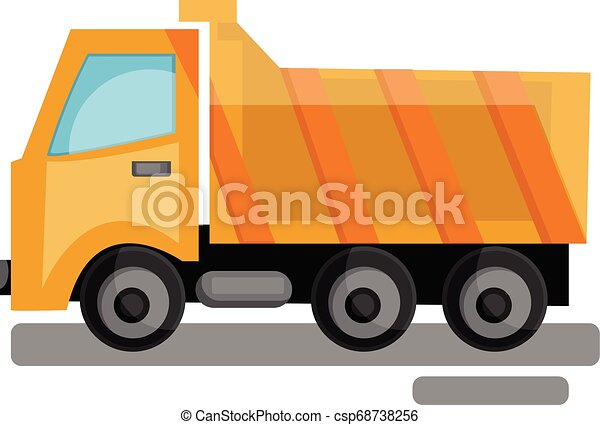 Cartoon yellow transporting truck vector illustration on white background. - csp68738256