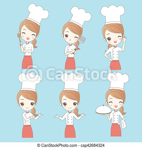 Cartoon young woman chef - csp42684324