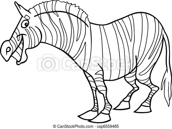 Cartoon zebra for coloring book. Cartoon illustration of... clipart ...