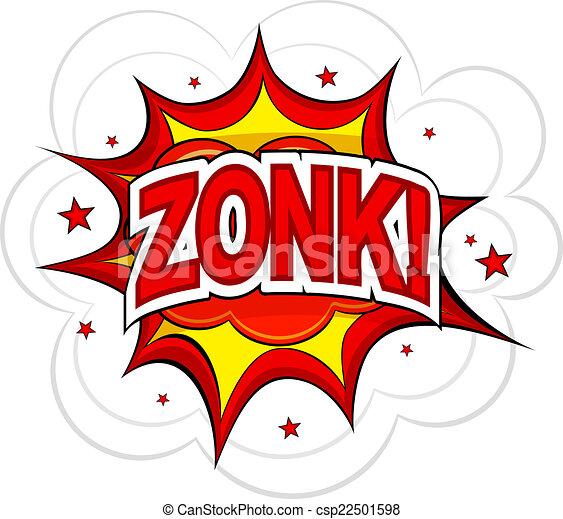 Cartoon ZONK! on a white background. Vector illustration. - csp22501598