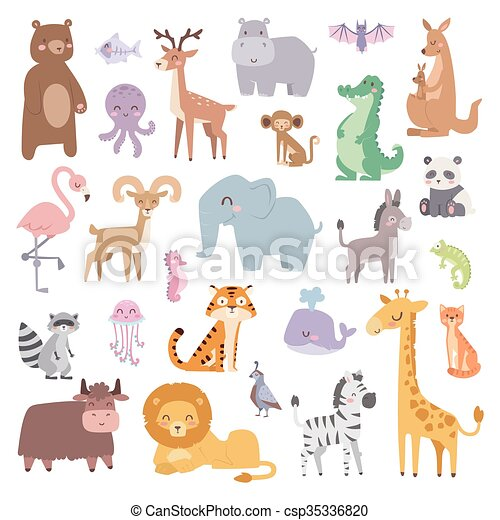 Cartoon zoo animals big set wildlife mammal flat vector illustration. - csp35336820