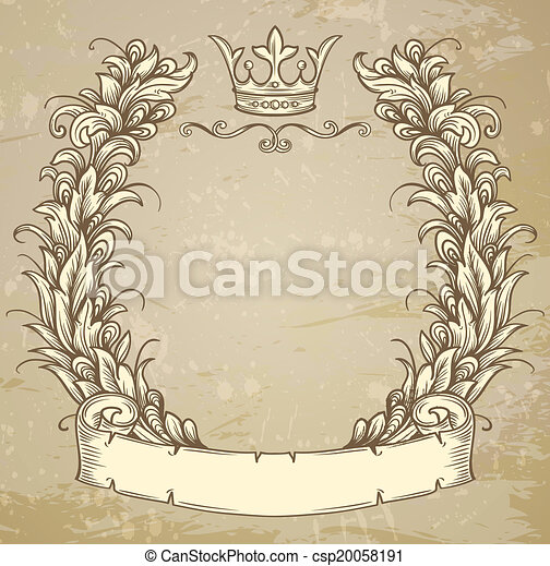 cartouche with ribbon - csp20058191