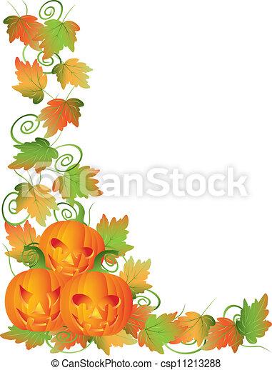 Carved Halloween Pumpkins and Vines Border Illustration - csp11213288