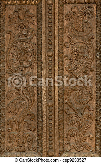 Carved pattern on wood - csp9233527
