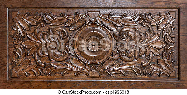 Carved pattern on wood - csp4936018