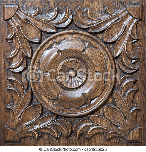 Carved pattern on wood - csp4936025