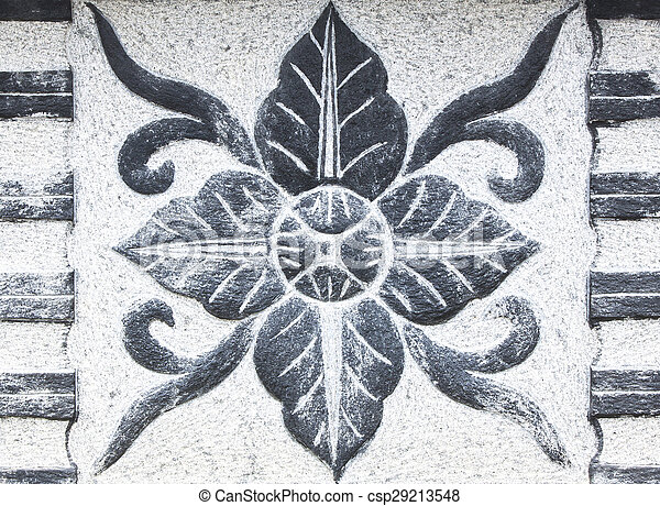 Carved stone flower shape - csp29213548