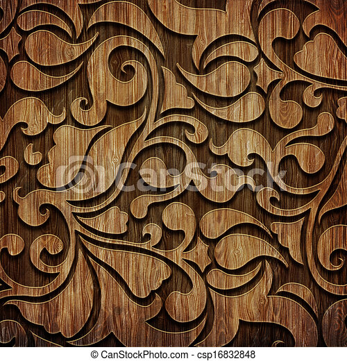 Carved Wooden Pattern Carved Ornament On Wooden Texture