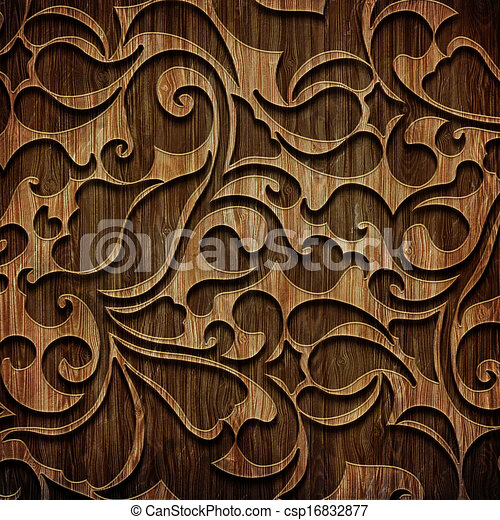 Carved wooden pattern. Carved ornament on wooden texture ...