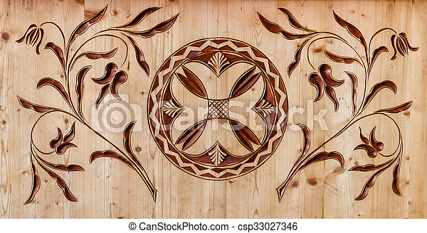 carved wooden pattern - csp33027346