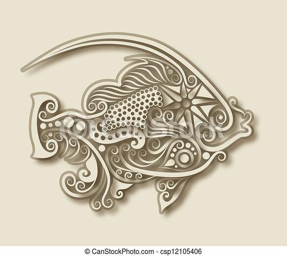 Carving fish animal - csp12105406