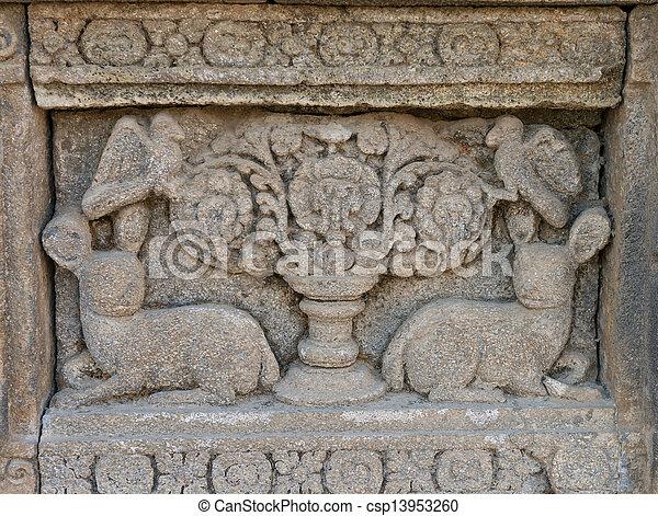 Carving on prambanan temple wall indonesia prambanan panel