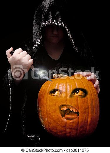 Carving the Pumpkin - csp0011275