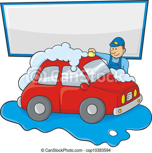 carwash man cartoon of a man in blue form hand washing a eps rh canstockphoto com free car wash clipart free clipart car wash
