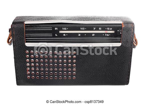 cas, vieux, portable, cuir, radio, soviétique - csp8137349
