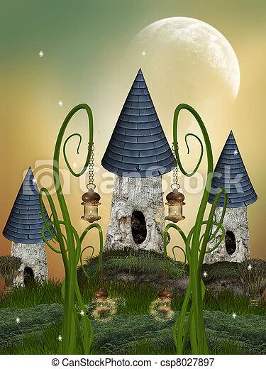casa, árbol - csp8027897