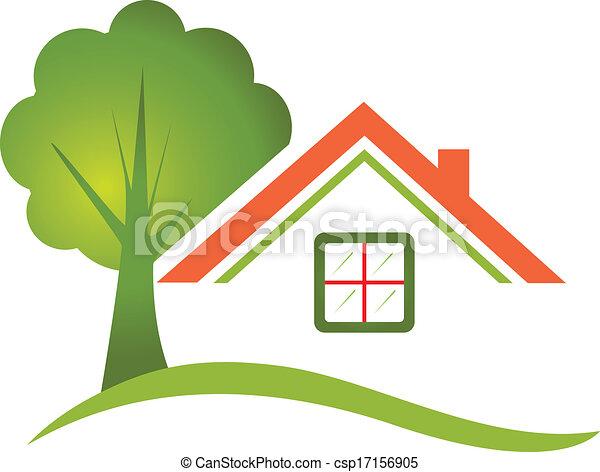 Árbol de casa para el logotipo de bienes raíces - csp17156905