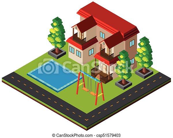 Casa nico desenho piscina 3d casa ilustra o nico for Piscina 3d