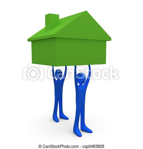 Reteniendo una casa número uno - csp0483828