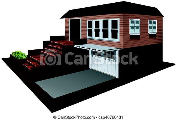 Casa 3d dise o garaje casa 3d dise o ilustraci n - Diseno casa 3d ...