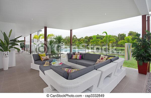 Casa a schiera, esterno, moderno, terrazzo. Casa, esterno ...