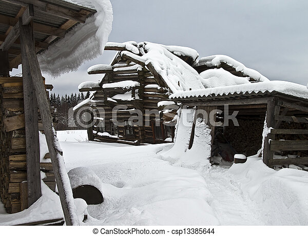 casa, abandonado, village. - csp13385644