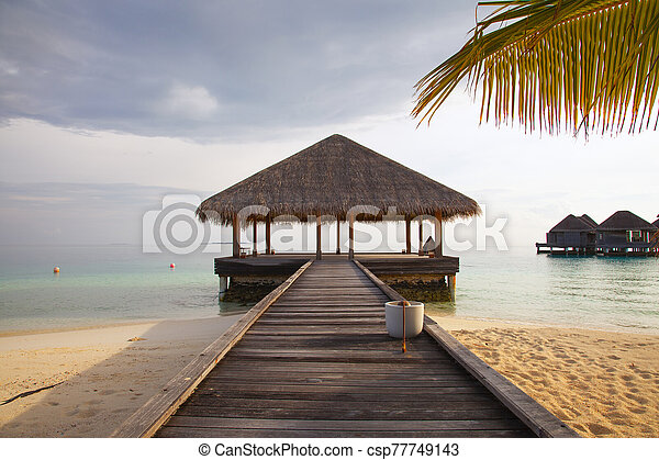 casa, agua, hermoso, maldivas, vista, bungalow, abierto - csp77749143