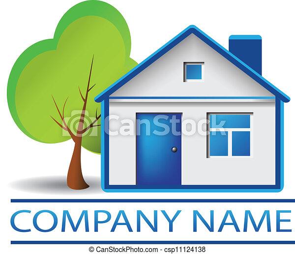 casa, albero, reale, logotipo, proprietà - csp11124138