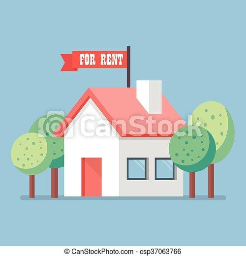 Casa para el icono de alquiler - csp37063766
