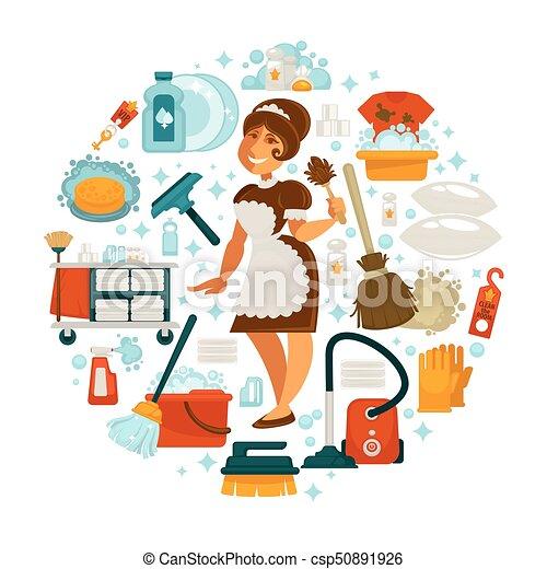 Casa ama de casa limpieza vector limpio criada hogar - Imagenes de limpieza de casas ...