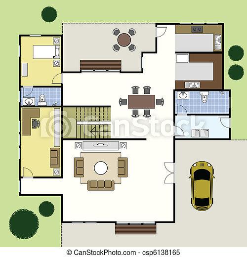 casa, arquitetura, floorplan, plano - csp6138165