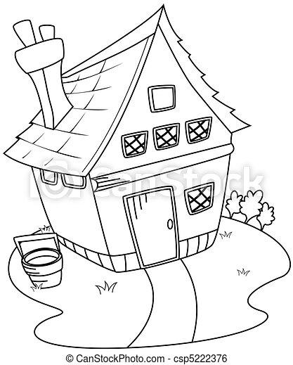Casa, arte de línea, granero. Arte, casa, ilustración, línea, granero.