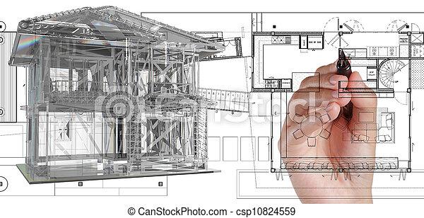 casa azul, modelo, impressão - csp10824559
