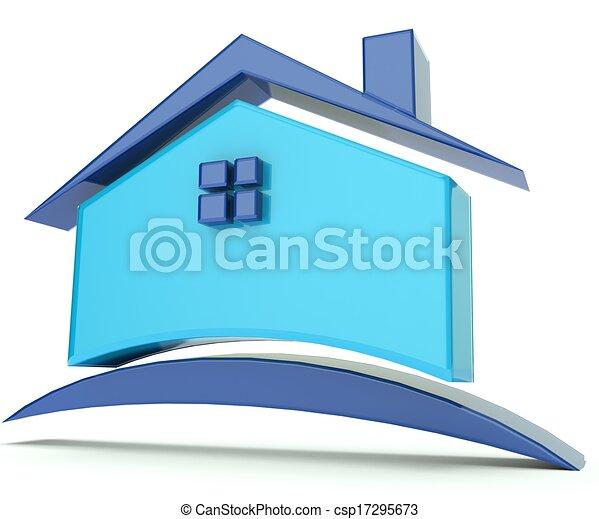 casa azul, techo, ilustración, logotipo - csp17295673