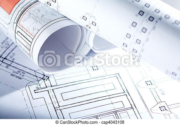 casa, bosquejos, nuevo - csp4043108