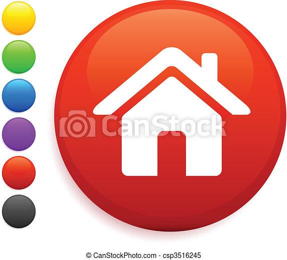 casa, botón, icono, redondo, internet - csp3516245