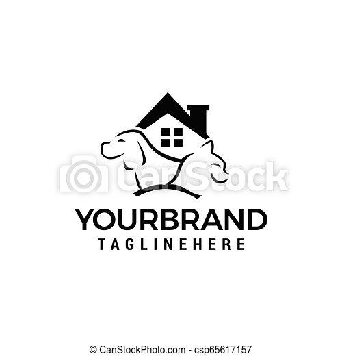 casa, cão, gato, vetorial, desenho, modelo, logotipo, ícone - csp65617157