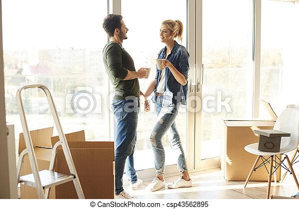 casa caffè, coppia, rottura, nuovo, detenere - csp43562895