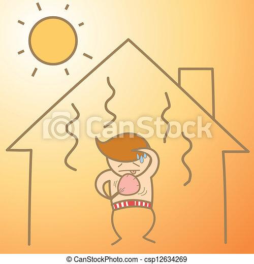 Personaje de dibujos del hombre en la casa de calor - csp12634269