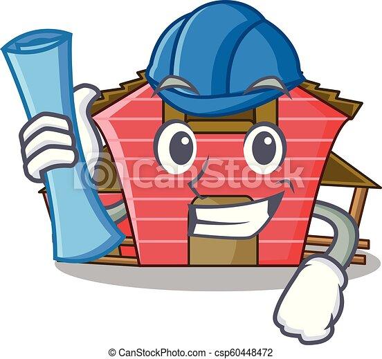 Arquitecta una caricatura de personajes de la casa roja - csp60448472