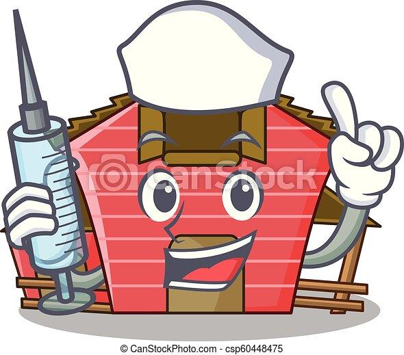 Enfermera una caricatura de personaje de casa roja - csp60448475