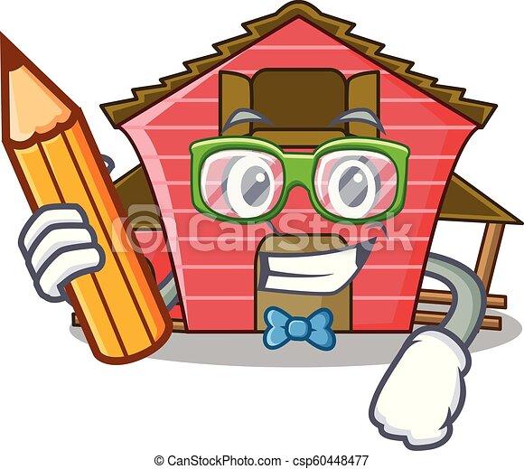 Estudiante de un dibujo de un personaje de un granero rojo - csp60448477