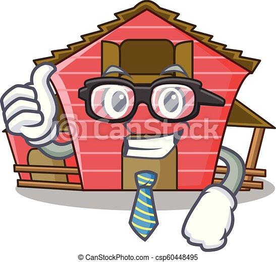 Empresario un dibujo animado de personajes de casa roja - csp60448495