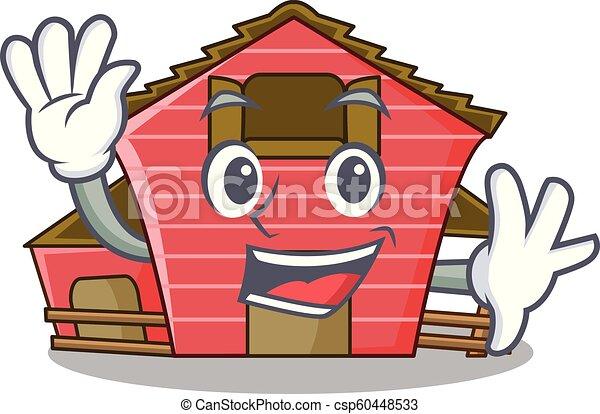 Agitando una caricatura del personaje de un granero rojo - csp60448533