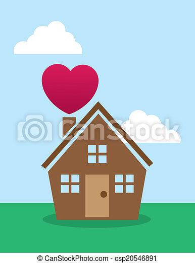 casa, chaminé, coração - csp20546891