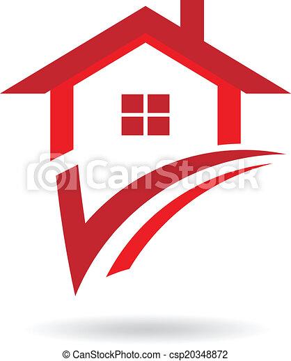 casa, cheque, logotipo - csp20348872
