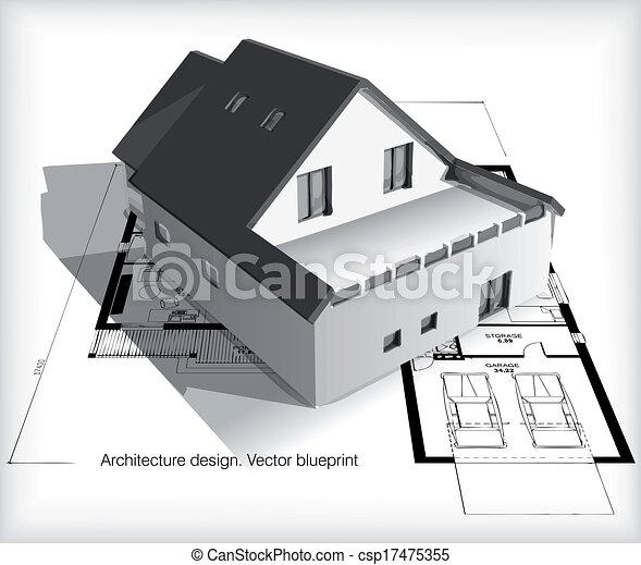 casa, cianografie, modello, cima, architettura - csp17475355