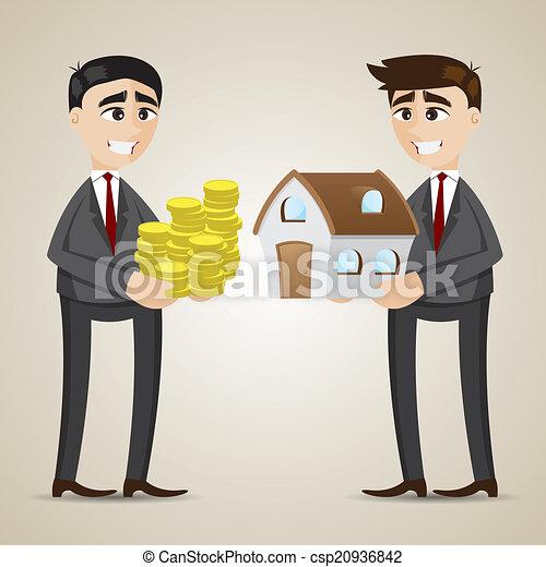 Comercial de dibujos animados entre agente y empresario - csp20936842